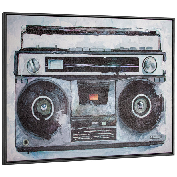 Vintage Boombox Canvas Art Print with Floating Frame