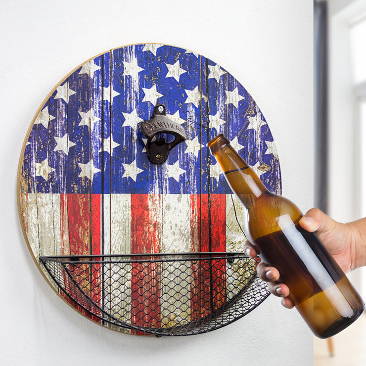 American Flag Bottle Opener and Cap Catcher Wall Decor