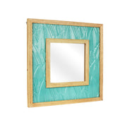 "Teal Tropical Stamped Metal and Wood 23"" Wall Mirror"