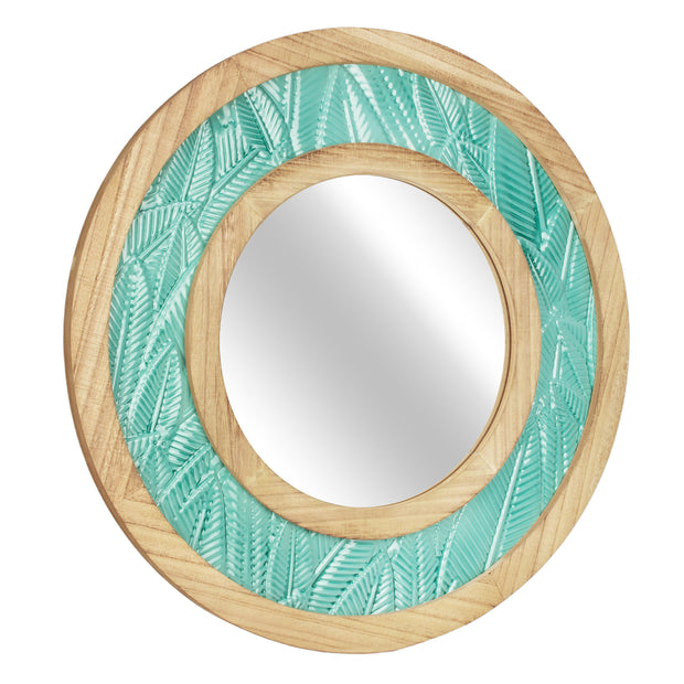 "Teal Tropical Metal & Wood 23"" Circular Wall Mirror"
