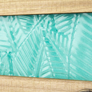 Tropical 4 Hook Teal Metal & Wood Wall Mounted Rack