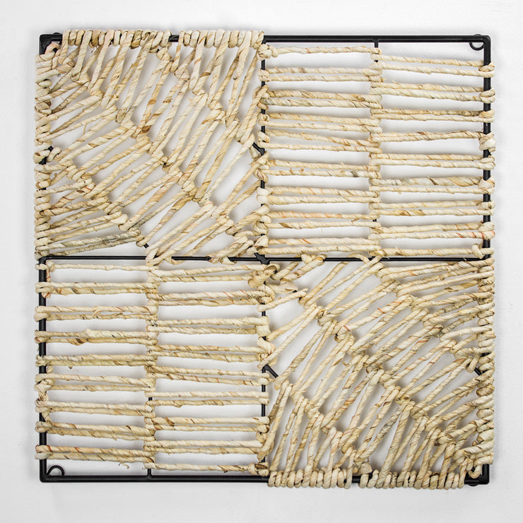 "Metal and Woven Corn Husk Wall Decor (18"" x 18"")"