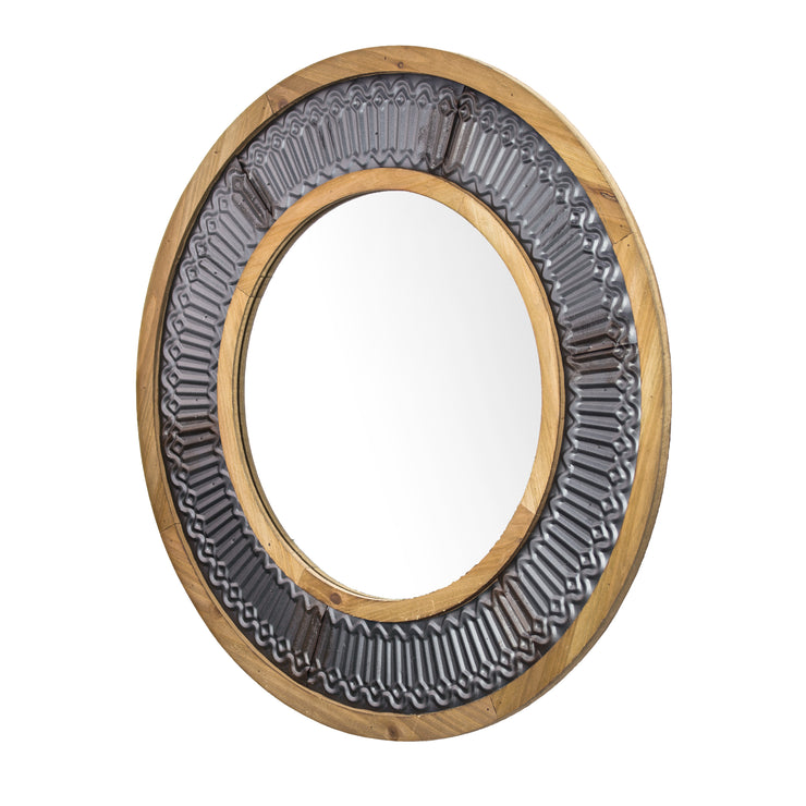 "Rustic Wood and Metal Framed Wall Mirror – Round (31"")"