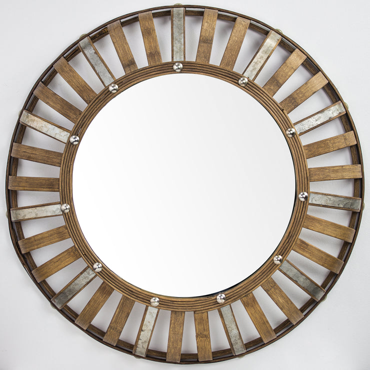 "Bamboo and Metal Rustic Convex Wall Mirror – Round (24"")"