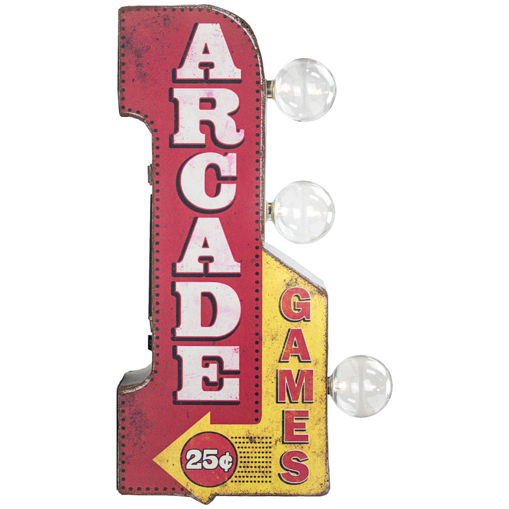 "Vintage Arcade Games Mini LED Marquee Arrow Sign (12"" x 5.25"")"