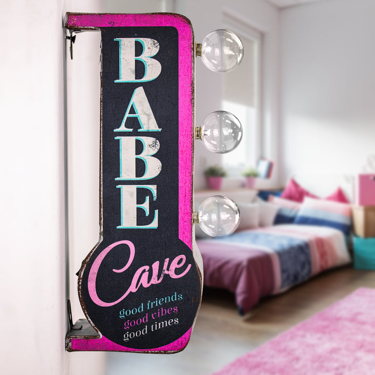 "Babe Cave Vintage Mini LED Marquee Sign (12"" x 5.25"")"
