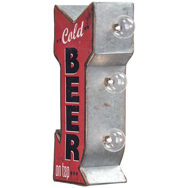 "Cold Beer On Tap Vintage Mini LED Marquee Arrow Sign (12"" x 5.25"")"
