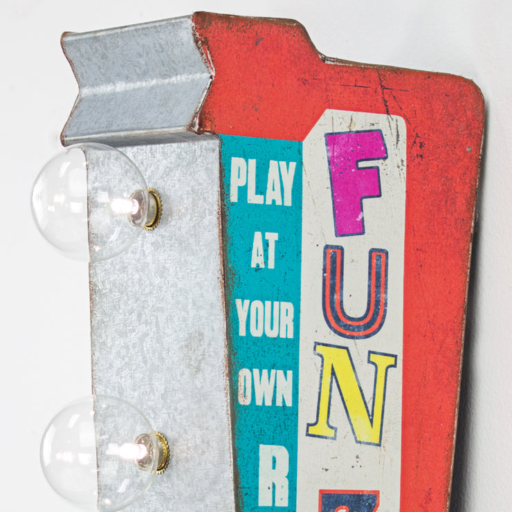 "Fun Zone Vintage Mini LED LED Marquee Arrow Sign (12"" x 5.25"")"