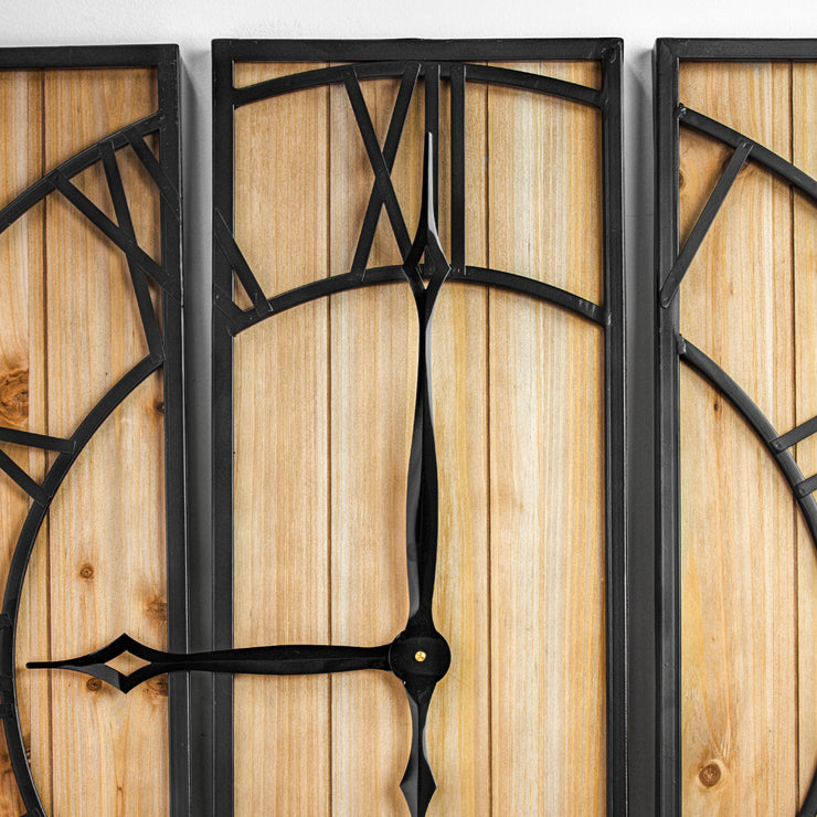 "Oversized Wood and Metal 3 Piece Wall Clock (30"" x 30"")"