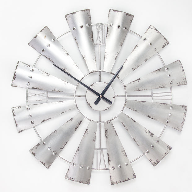 "Metal Windmill Oversized Vintage Wall Clock 31"" (Silver)"