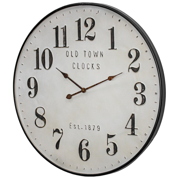 Old Town Clocks Vintage Oversized Metal Wall Clock – 31""