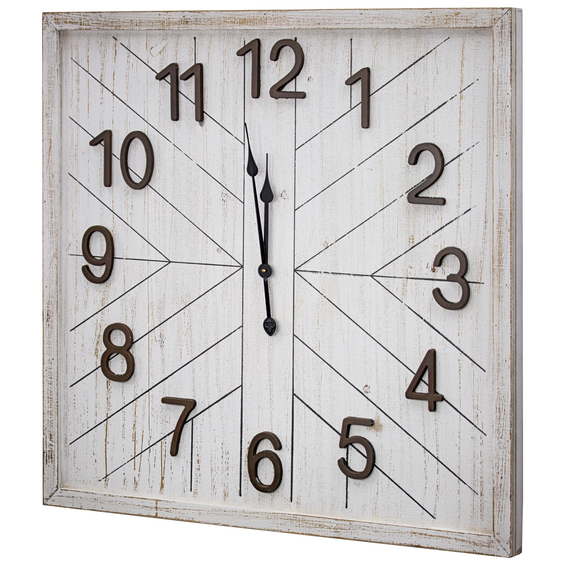 Whitewashed Wood Oversize Wall Clock 32 Americanartdecor Com