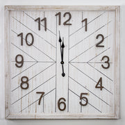 Whitewashed Wood Oversize Wall Clock 32""