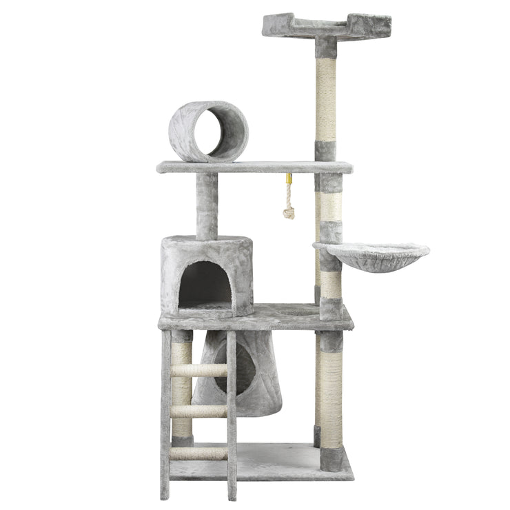 "Multi-level Cat Activity Tree Condo – Grey (62"" x 29"")"