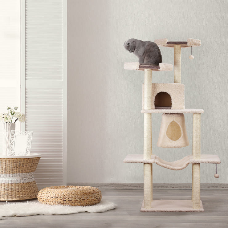 "Multi-level Cat Activity Tree Condo – Beige (66"" x 36"")"