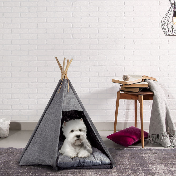 Pet Teepee Portable Dog & Cat Bed with Cushion - Grey