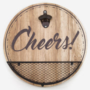 Rustic Wood-Textured 'Cheers!' Bottle Opener & Cap Catcher - 14""