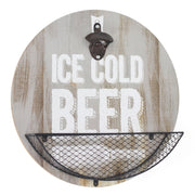 Wood-Textured 'Ice Cold Beer' Bottle Opener & Cap Catcher - 14""