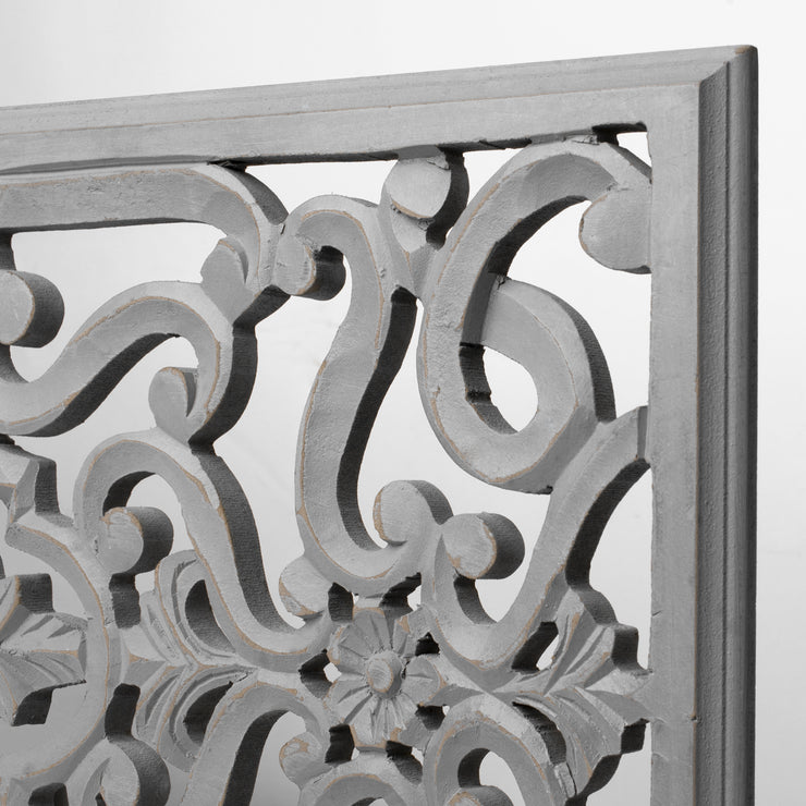 Hand-Carved Floral Wood Panel and Wall Decor, Gray