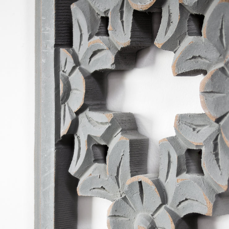 "Carved Wood Medallion Wall Art - Grey (48"" x 12.5"")"