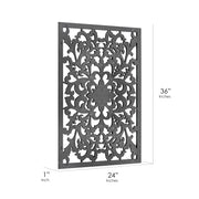 "Hand-Carved Floral Wood Medallion Wall Art – Black (36"" x 24"")"