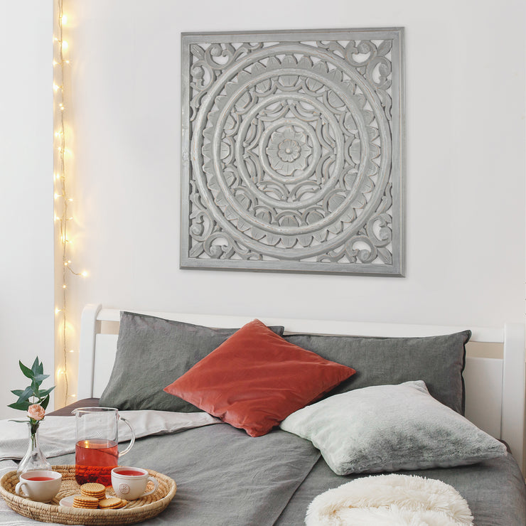 "Carved Floral Wood Medallion Wall Art - Grey (30.5"")"