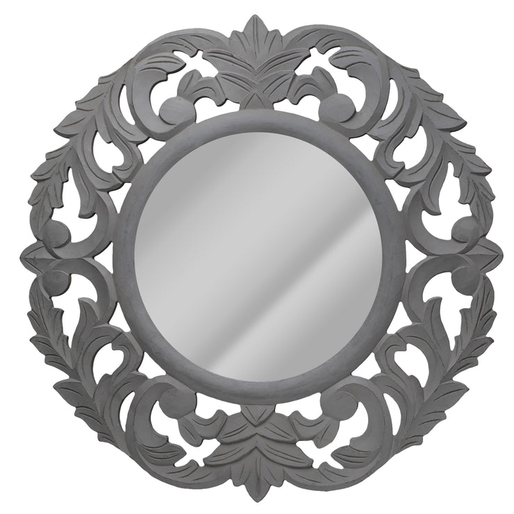 Hand-Carved Mirror with Vintage Floral Motif - White