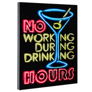 "No Working During Drinking Hours Neon Wall Art Decor (28"" x 22"")"
