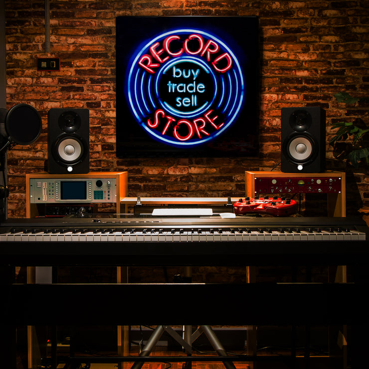 "Record Store Buy Sell Trade Neon Wall Art Decor (20"" x 20"")"