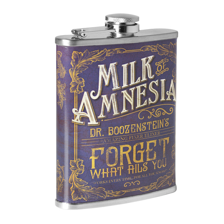 Milk of Amnesia Stainless Steel 8 oz Liquor Flask
