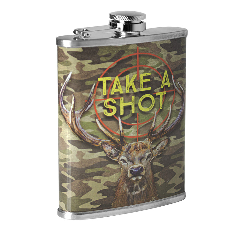Take A Shot Stainless Steel 8 oz Liquor Flask