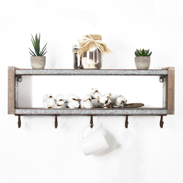 Rustic Wall Mounted Coat Rack Shelf with Hooks