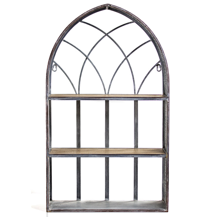 Cathedral Arch Rustic Hanging Wall Shelf and Rack