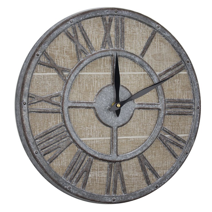 "Whitewashed Wood and Metal Farmhouse Wall Clock (15"")"