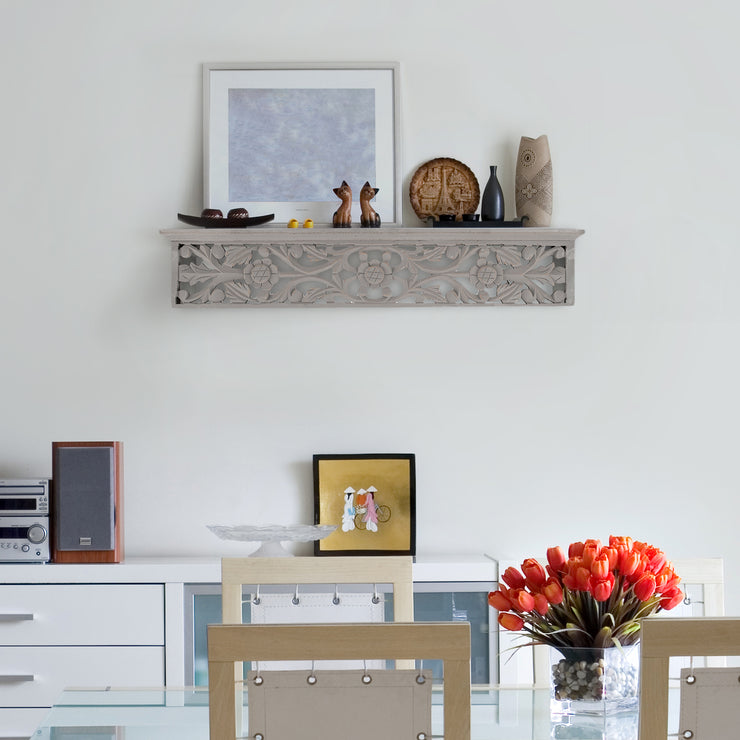 "Hand-Carved Medallion Floating Wall Shelf - Grey (24"")"