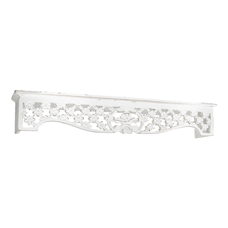 "Hand-Carved Medallion Floating Wall Shelf - Whitewashed (30"")"