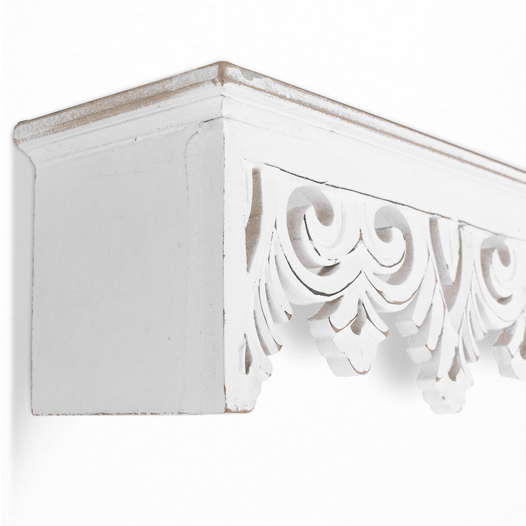 "Hand-Carved Floating Wall Shelf - White (30"")"
