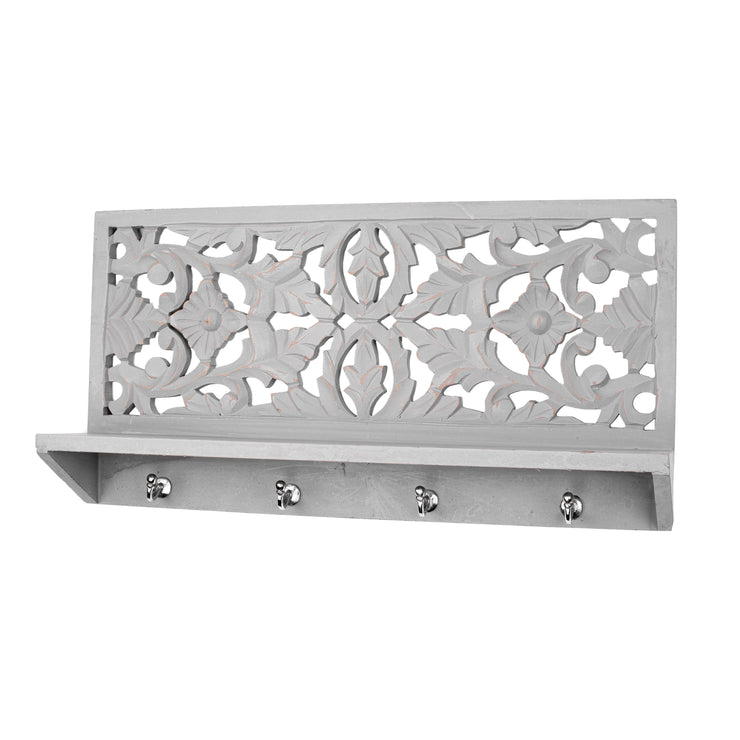 "Hand-Carved Wall Shelf and Coat Rack – Dove Grey (24"")"