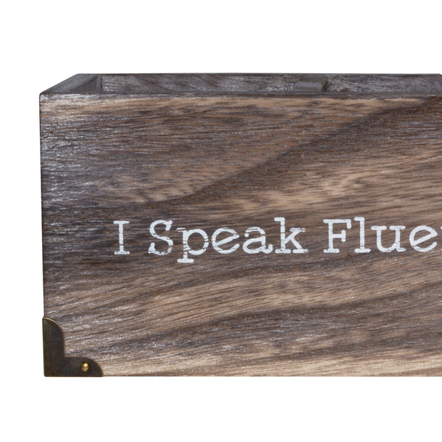 Wood Desk Organizer - I Speak Fluent Sarcasm