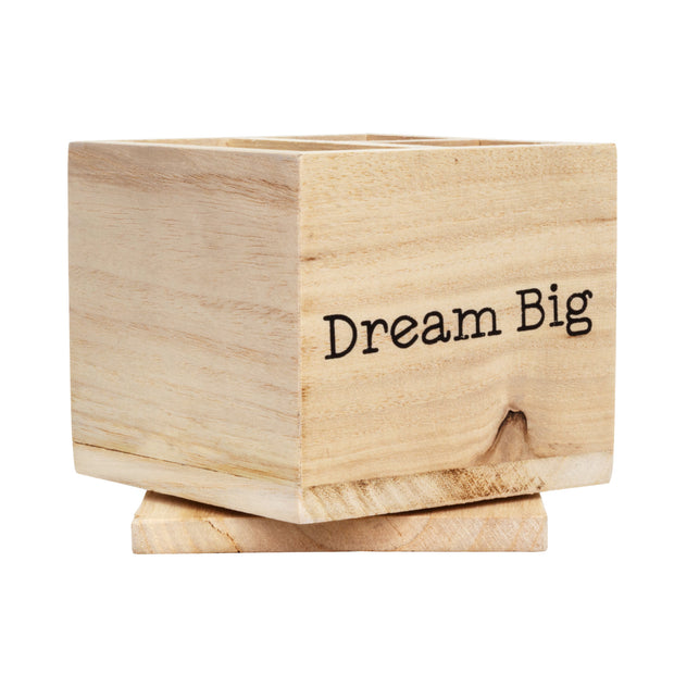 Rotating Wood Desk Organizer - Dream Big