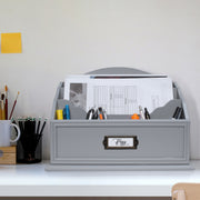 All-in-One Desk Organizer with 6 Compartments - Grey