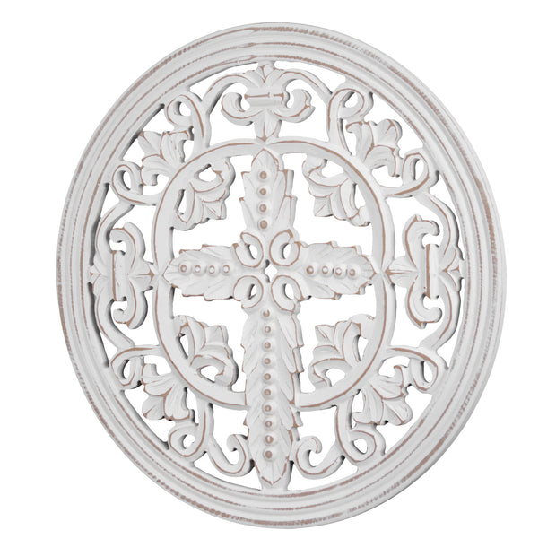 "Arabesque and Cross Wall Medallion Home Decor – White (16"")"