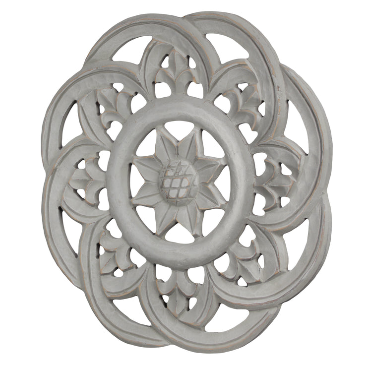 "Floral Wall Medallion Home Decor – Gray (16"")"