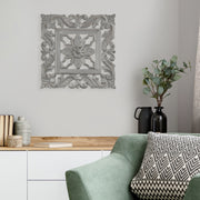"Floral Arabesque Wall Medallion – Gray (16"")"
