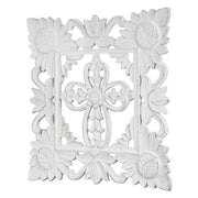 "Hand-Carved Square Floral Cross Wall Medallion – White (24"")"