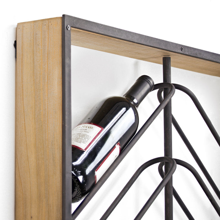 "Wood and Metal Wall Mounted Wine Rack (36.25"" x 24.25"")"