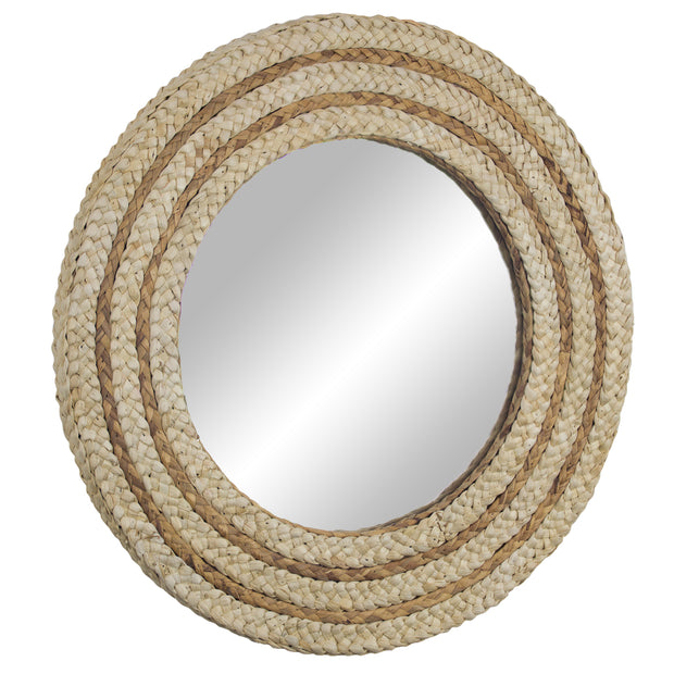 "Woven Rattan Accent Wall Mirror 21"" - Brown"