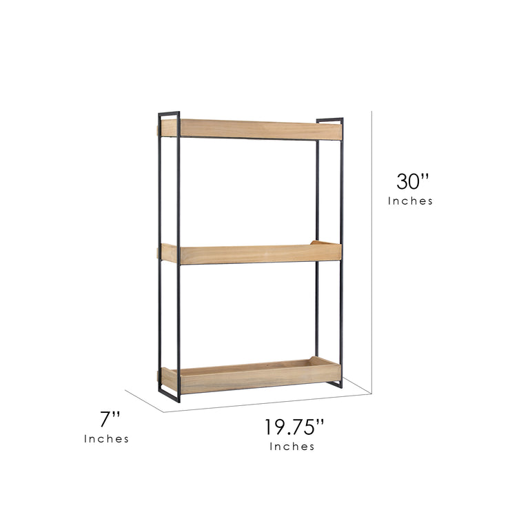 "Wood and Metal 3 Tier Wall Mounted Shelving Unit (30"" x 19.75"" x 7"")"