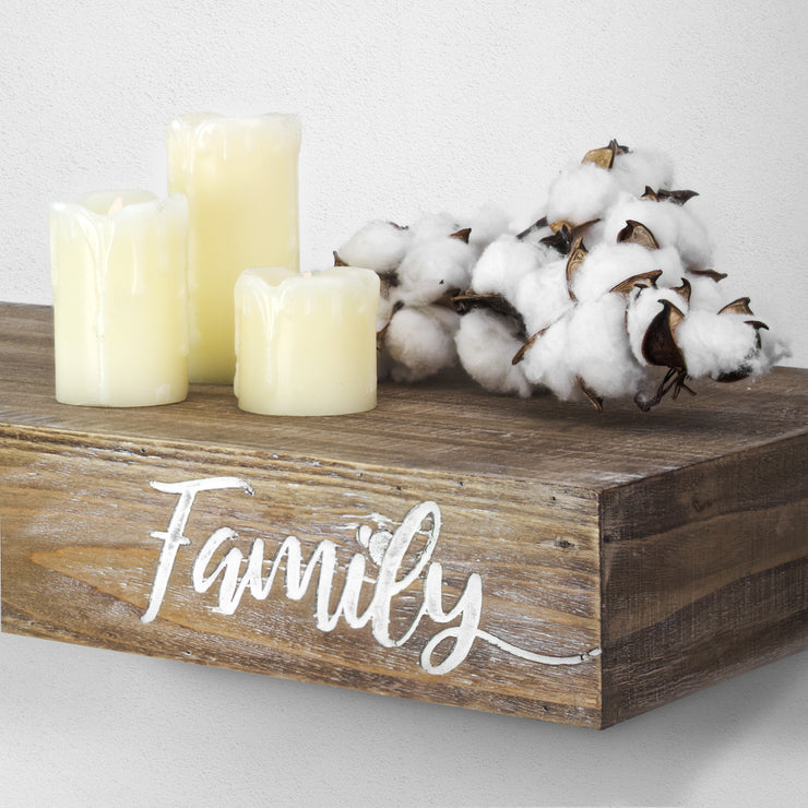 "Floating Wall Shelf with ""Family"" Text Engraving"