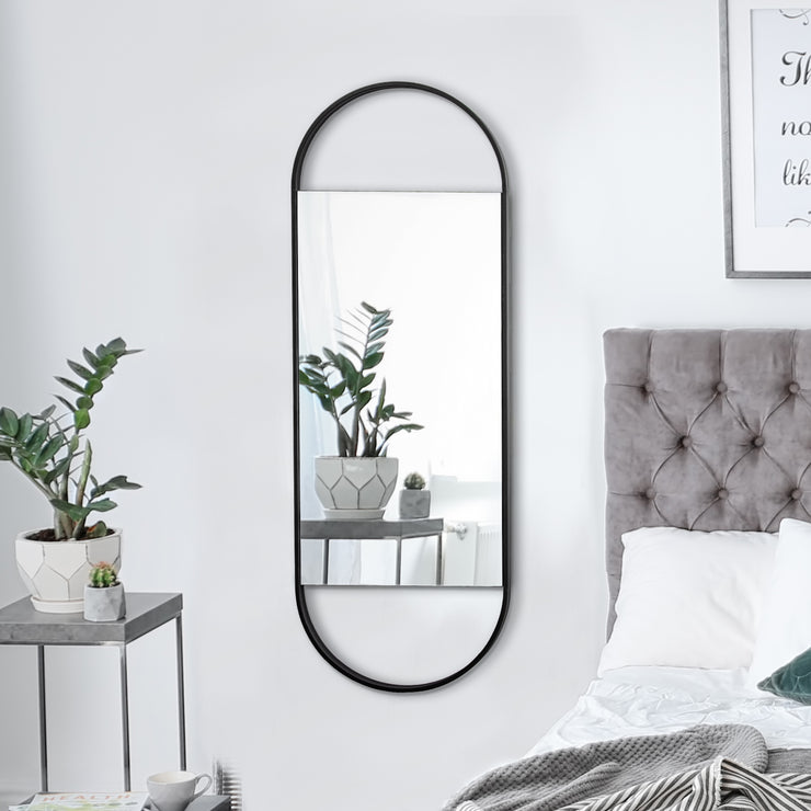"Pill-Shaped Hanging Wall Mirror (48"" x 17"")"